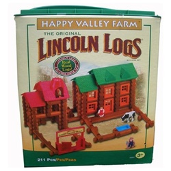 Lincoln Logs Happyvalley Farm-211 Real Wood Peices