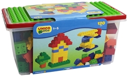 Unico 120 pcs Building Bricks in a Bucket and HUGE Building Plate